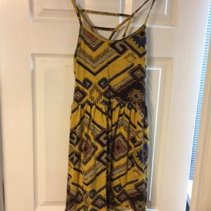 Fun yellow and blue mini dress with Aztec print Sm